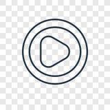 Icono linear del vector del concepto del botón de reproducción aislado en b transparente stock de ilustración