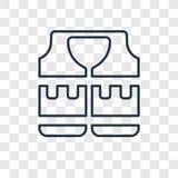 Icono linear del vector del concepto del chaleco salvavidas aislado en vagos transparentes ilustración del vector