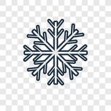 Icono linear del vector del concepto del copo de nieve aislado en el CCB transparente stock de ilustración