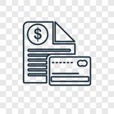 Icono linear del vector del concepto de la factura aislado en backg transparente stock de ilustración