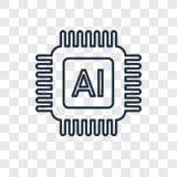Icono linear del vector del concepto de la inteligencia artificial aislado en t ilustración del vector
