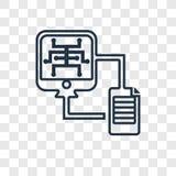 Icono linear del vector del concepto de la transferencia de archivos aislado en transparente ilustración del vector