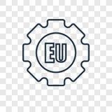 Icono linear del vector del concepto de la UE aislado en fondo transparente libre illustration