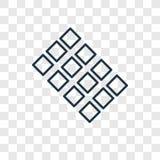 Icono linear del vector del concepto de las tejas aislado en backgro transparente stock de ilustración