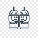 Icono linear del vector del concepto de los robots aislado en backgr transparente libre illustration