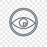 Icono linear del vector del concepto del ojo aislado en backgroun transparente stock de ilustración