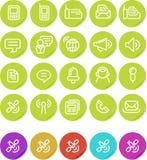 Icono llano de las etiquetas engomadas fijado: Comunicaciones Fotografía de archivo libre de regalías