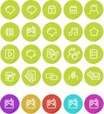 Icono llano de las etiquetas engomadas fijado: Internet blogging Imagenes de archivo
