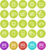 Icono llano de las etiquetas engomadas fijado: Media Fotos de archivo