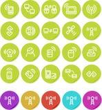 Icono llano de las etiquetas engomadas fijado: Radio y establecimiento de una red Foto de archivo