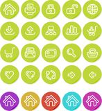 Icono llano de las etiquetas engomadas fijado: Web site e Internet Foto de archivo