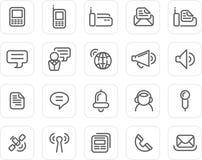 Icono llano fijado: Comunicación ilustración del vector