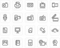 Icono llano fijado: Media Fotografía de archivo libre de regalías