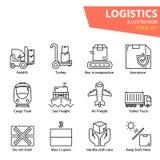Icono logístico del esquema fijado para la logística mundial foto de archivo