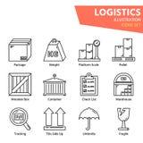 Icono logístico del esquema fijado para la logística mundial imágenes de archivo libres de regalías