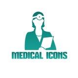 Icono médico con el otorrinolaringólogo del doctor Fotografía de archivo