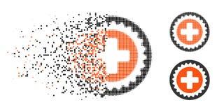 Icono médico de semitono quebrado del sello de Pixelated ilustración del vector
