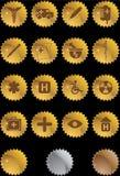Icono médico fijado - escritura de la etiqueta del oro Imágenes de archivo libres de regalías