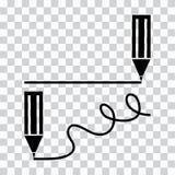 Icono mínimo negro de la pluma o del lápiz o del marcador Los l?pices dibujan l?neas rectas y de las curvas Ilustraci?n del vecto libre illustration