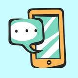 Icono móvil con la burbuja del diálogo para el app y el web Muestra del arte pop del vector Imagenes de archivo
