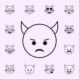 icono malvado del imp Sistema universal de los iconos de Emoji para la web y el m?vil ilustración del vector