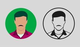 Icono masculino de Avatar con la barba ilustración del vector