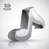 Icono metálico de la nota musical de la visión superior aislado Fotos de archivo