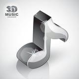 Icono metálico de la visión superior aislado, 3d de la nota musical Fotos de archivo libres de regalías