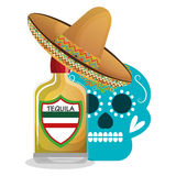 Icono mexicano de la bebida del tequila libre illustration