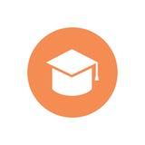 Icono minimalistic del casquillo de la graduación del vector Aislado en blanco Fotografía de archivo libre de regalías
