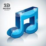Icono moderno musical azul enrrollado del estilo de la nota 3d Foto de archivo libre de regalías