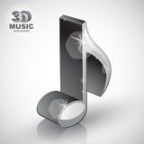 Icono moderno musical delgado metálico de moda del estilo de la nota 3d Foto de archivo