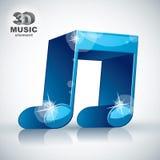 Icono moderno musical doble azul enrrollado del estilo de la nota 3d Foto de archivo libre de regalías