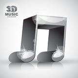 Icono moderno musical doble metálico enrrollado del estilo de la nota 3d aislado Imagenes de archivo