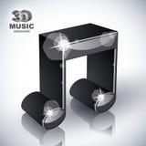 Icono moderno musical enrrollado del estilo de la nota 3d aislado Imagen de archivo