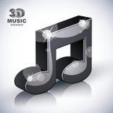 Icono moderno musical enrrollado del estilo de la nota 3d aislado Fotos de archivo