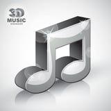 Icono moderno musical metálico enrrollado del estilo de la nota 3d aislado Imagenes de archivo
