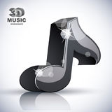 Icono moderno musical negro de la nota 3d Fotos de archivo