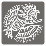 Icono monocromático con arte americano de los indios y ornamentos étnicos Imagen de archivo libre de regalías