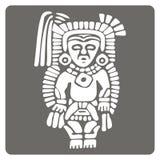 Icono monocromático con arte americano de los indios y ornamentos étnicos Foto de archivo libre de regalías