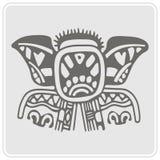 Icono monocromático con arte americano de los indios y ornamentos étnicos Foto de archivo