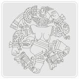 Icono monocromático con la diosa azteca de Coyolxauhqui de la luna ilustración del vector