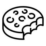 Icono mordido de la galleta, estilo del esquema ilustración del vector