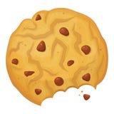 Icono mordido de las galletas de harina de avena, torta redonda cocida ilustración del vector