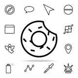 icono mordido del buñuelo sistema universal de los iconos del web para el web y el móvil ilustración del vector