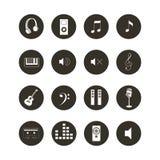 Icono musical fijado - colección relacionada del icono del web de la música blanco y negro Imagen de archivo libre de regalías