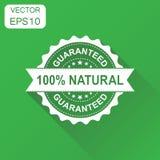 icono natural del sello de goma del 100% Natu garantizado concepto del negocio Imágenes de archivo libres de regalías