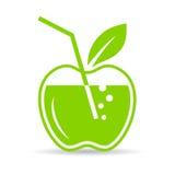 Icono natural del vector del zumo de manzana Fotos de archivo