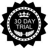 Icono negro de ensayo de treinta días de la insignia Ilustración del Vector