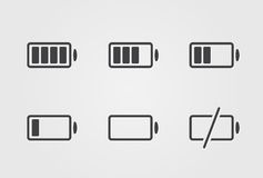 Icono negro de la batería del vector Fotografía de archivo libre de regalías